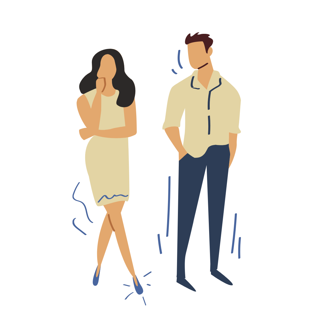 An illustration of a man and a woman standing together.